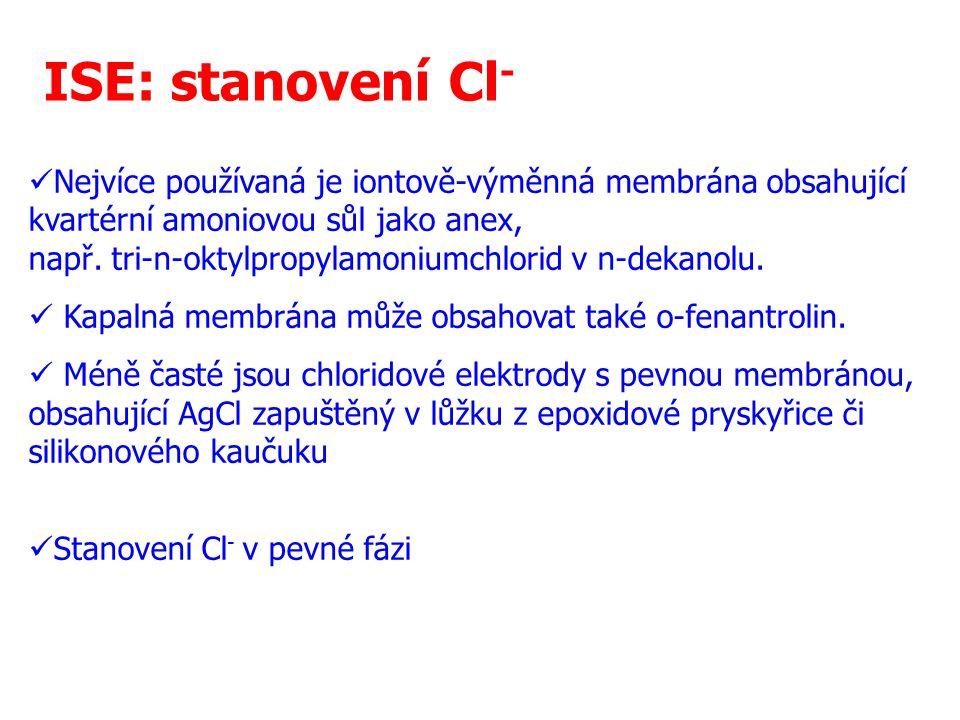 16 ISE: stanovení Cl - Nejvíce používaná je iontově-výměnná membrána obsahující kvartérní amoniovou sůl jako anex, např. tri-n-oktylpropylamoniumchlor