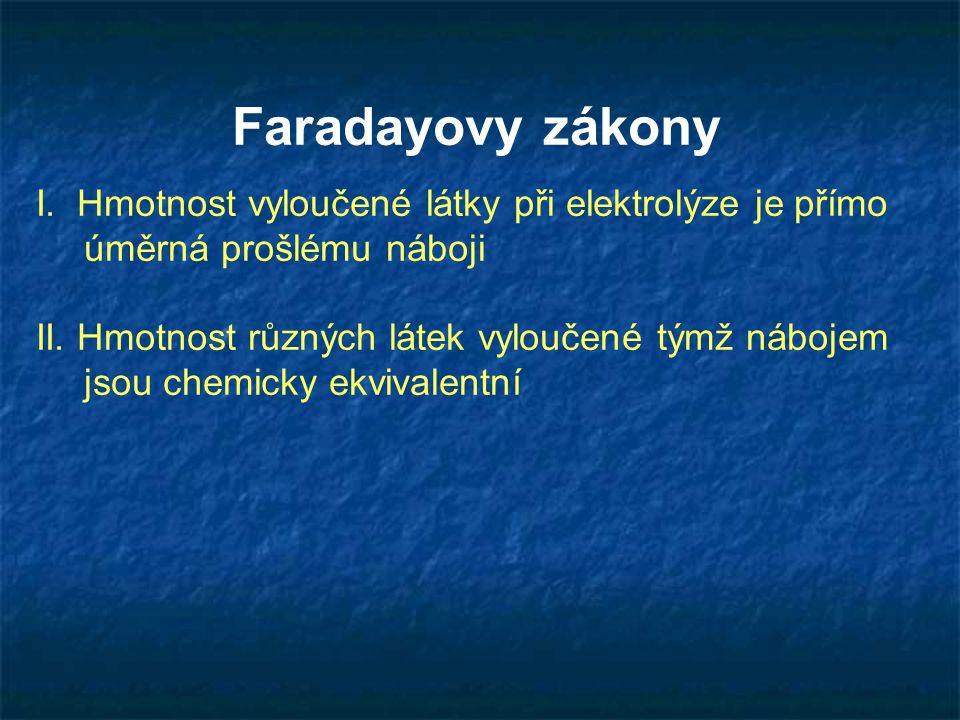 Faradayovy zákony I. Hmotnost vyloučené látky při elektrolýze je přímo úměrná prošlému náboji II. Hmotnost různých látek vyloučené týmž nábojem jsou c