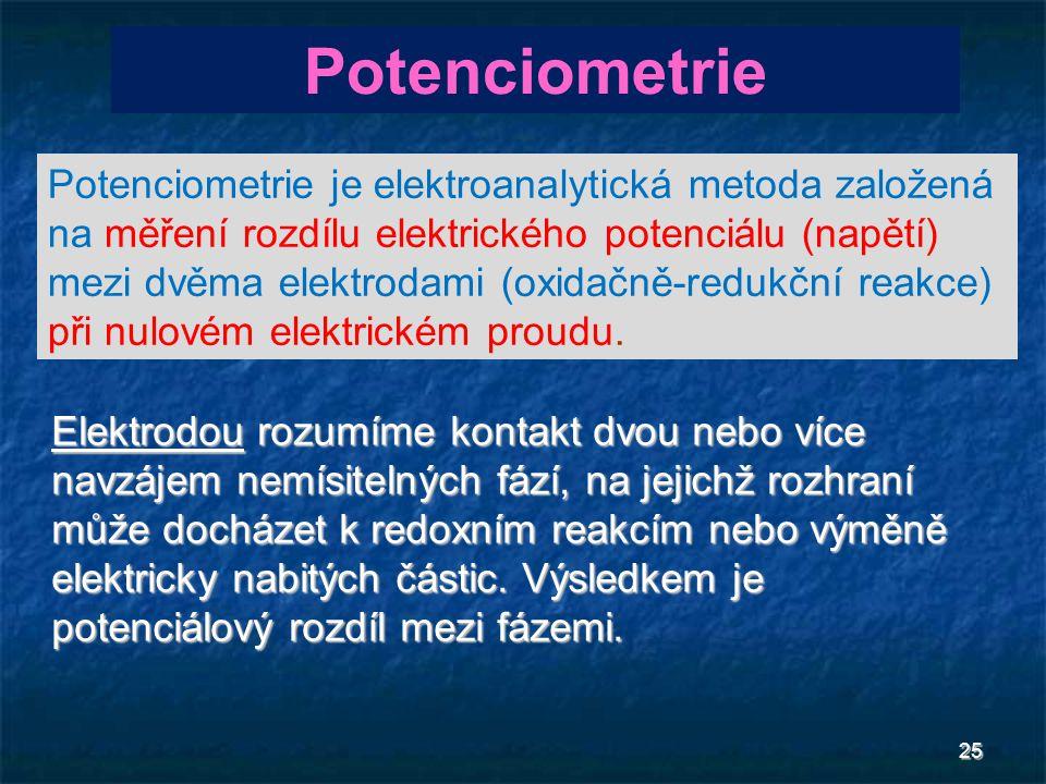 25 Elektrodou rozumíme kontakt dvou nebo více navzájem nemísitelných fází, na jejichž rozhraní může docházet k redoxním reakcím nebo výměně elektricky