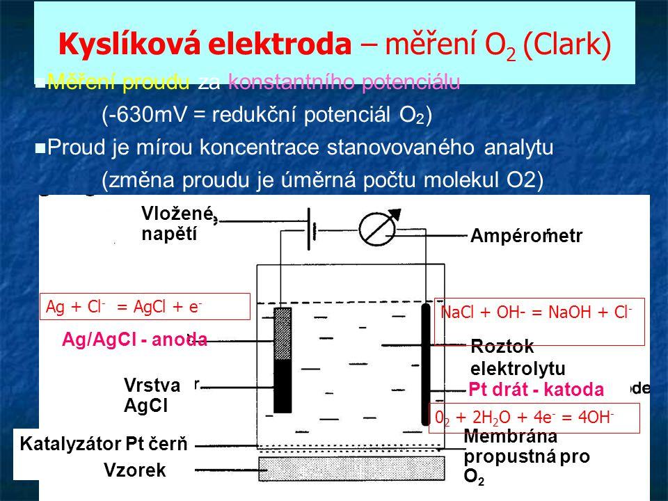 31 Kyslíková elektroda – měření O 2 (Clark) Vložené napětí Ampérometr Ag/AgCl - anoda Vrstva AgCl Katalyzátor Pt čerň Vzorek Roztok elektrolytu Pt drá