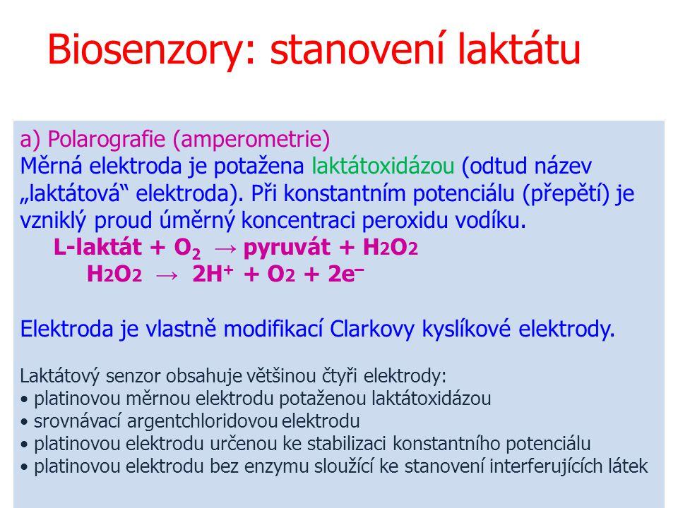 """35 Biosenzory: stanovení laktátu a) Polarografie (amperometrie) Měrná elektroda je potažena laktátoxidázou (odtud název """"laktátová"""" elektroda). Při ko"""