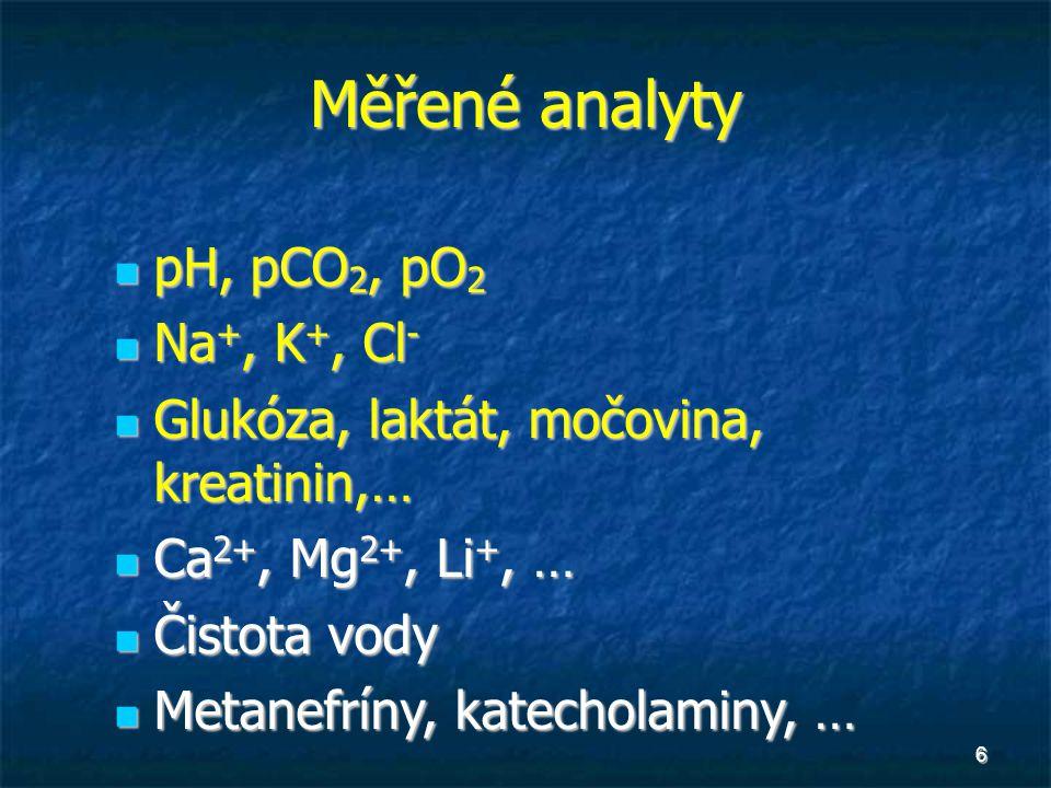 6 Měřené analyty pH, pCO 2, pO 2 pH, pCO 2, pO 2 Na +, K +, Cl - Na +, K +, Cl - Glukóza, laktát, močovina, kreatinin,… Glukóza, laktát, močovina, kre