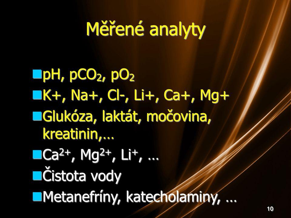 10 Měřené analyty pH, pCO 2, pO 2 pH, pCO 2, pO 2 K+, Na+, Cl-, Li+, Ca+, Mg+ K+, Na+, Cl-, Li+, Ca+, Mg+ Glukóza, laktát, močovina, kreatinin,… Glukó