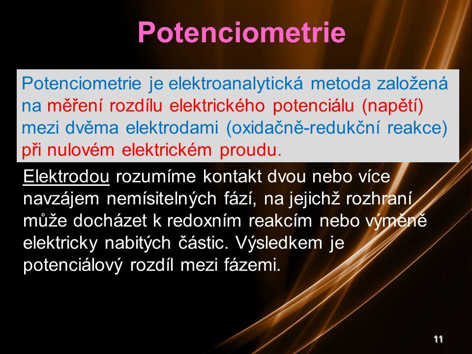 11 Elektrodou rozumíme kontakt dvou nebo více navzájem nemísitelných fází, na jejichž rozhraní může docházet k redoxním reakcím nebo výměně elektricky