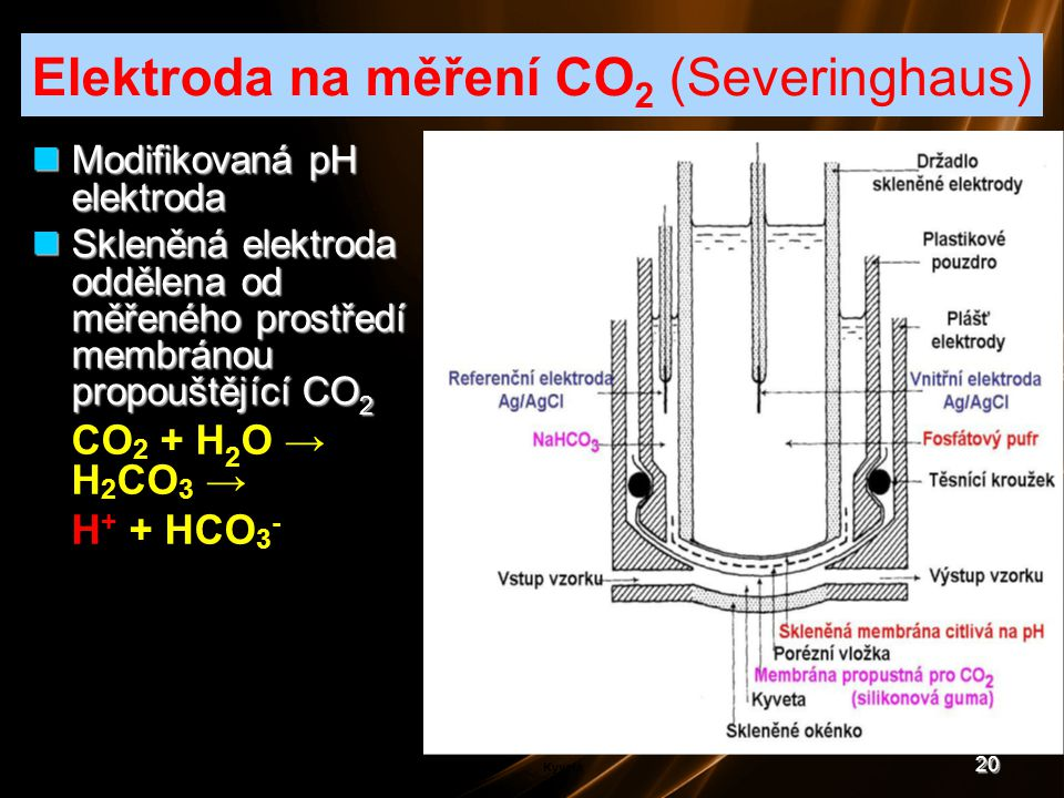20 Modifikovaná pH elektroda Modifikovaná pH elektroda Skleněná elektroda oddělena od měřeného prostředí membránou propouštějící CO 2 Skleněná elektro