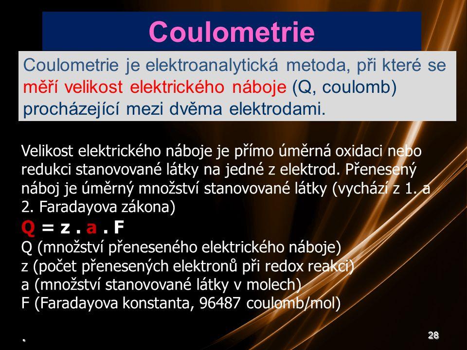 28 Velikost elektrického náboje je přímo úměrná oxidaci nebo redukci stanovované látky na jedné z elektrod. Přenesený náboj je úměrný množství stanovo