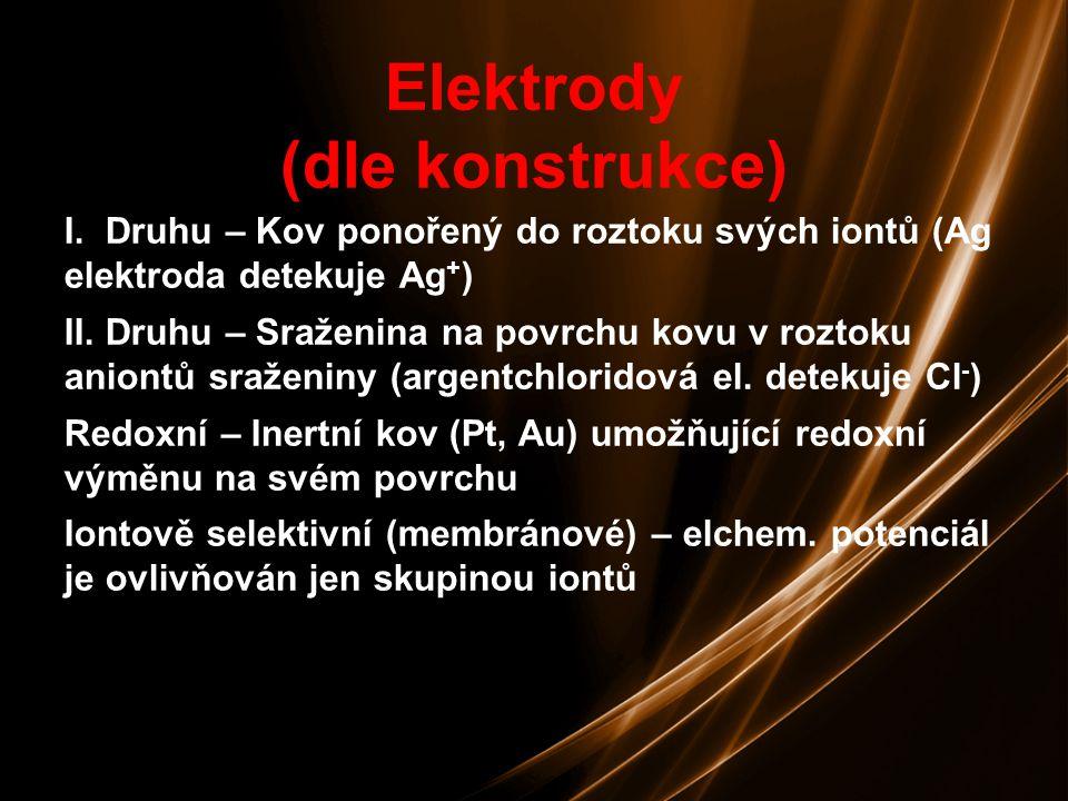 8 Měřené elektrické veličiny Napětí (potenciometrie) Napětí (potenciometrie) Proud (polarografie, voltametrie) Proud (polarografie, voltametrie) Náboj (coulometrie) Náboj (coulometrie) Vodivost (konduktometrie) Vodivost (konduktometrie)