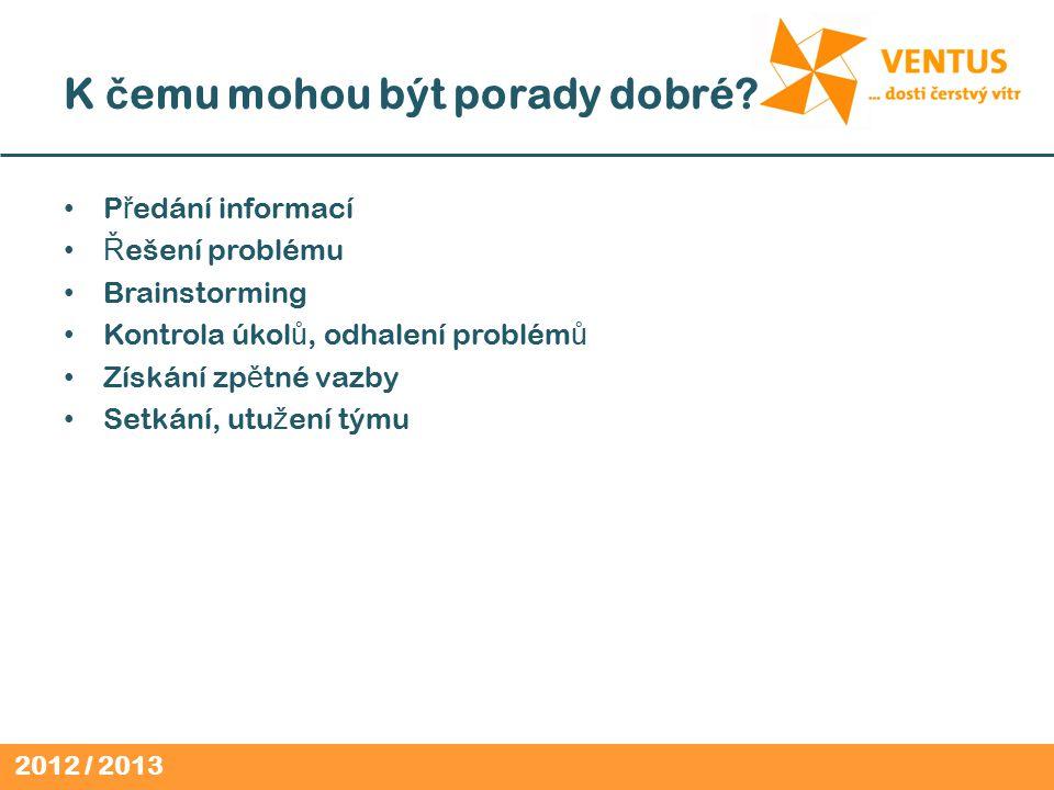 2012 / 2013 K č emu mohou být porady dobré.