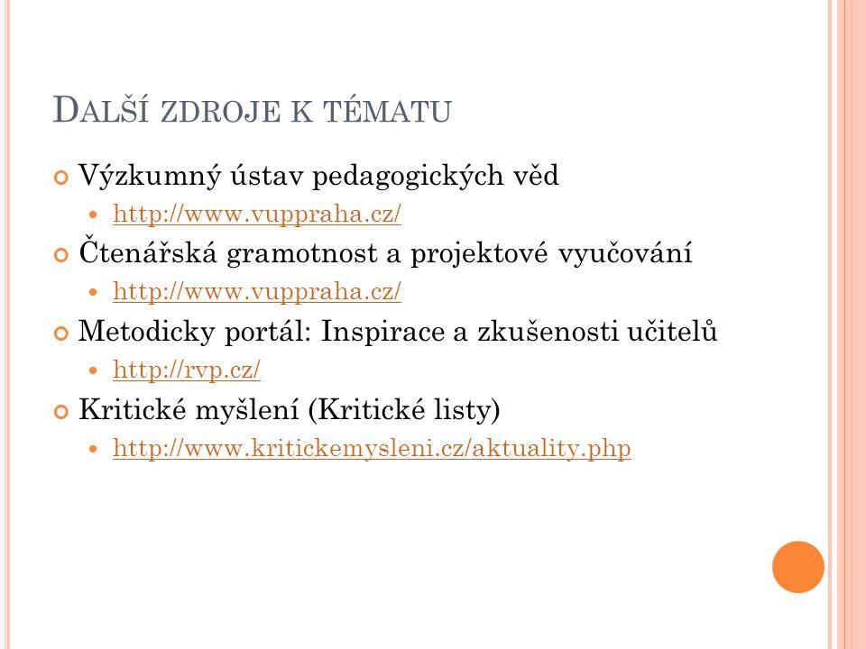 D ALŠÍ ZDROJE K TÉMATU Výzkumný ústav pedagogických věd http://www.vuppraha.cz/ Čtenářská gramotnost a projektové vyučování http://www.vuppraha.cz/ Me