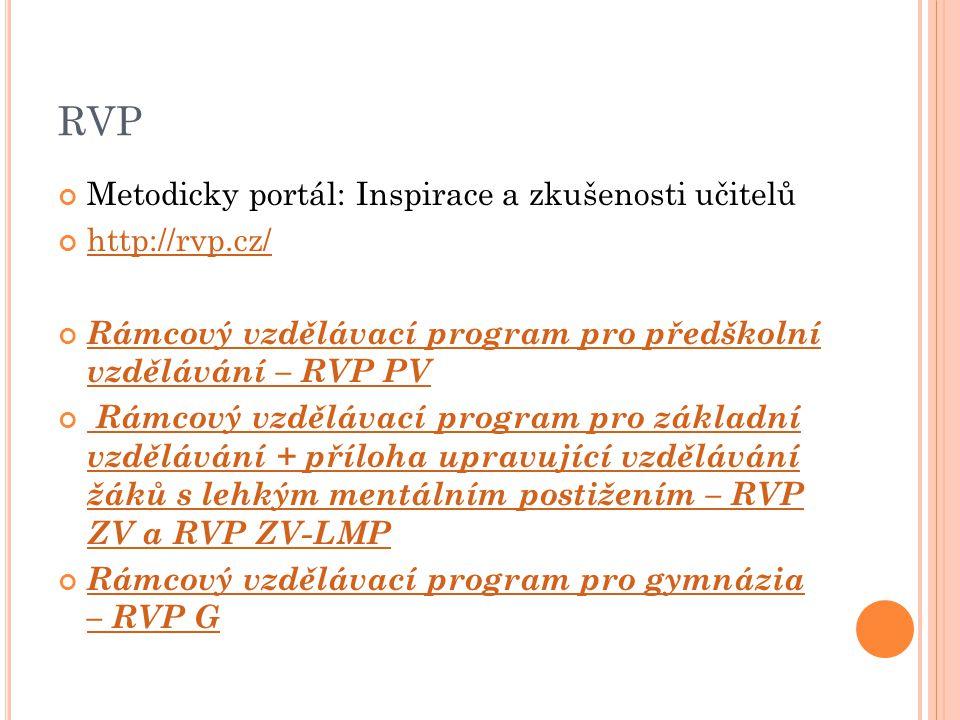 RVP Metodicky portál: Inspirace a zkušenosti učitelů http://rvp.cz/ Rámcový vzdělávací program pro předškolní vzdělávání – RVP PV Rámcový vzdělávací p