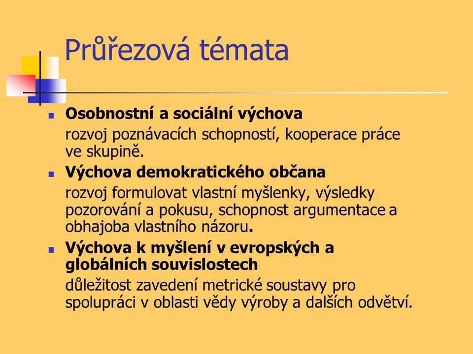 Průřezová témata Osobnostní a sociální výchova rozvoj poznávacích schopností, kooperace práce ve skupině.