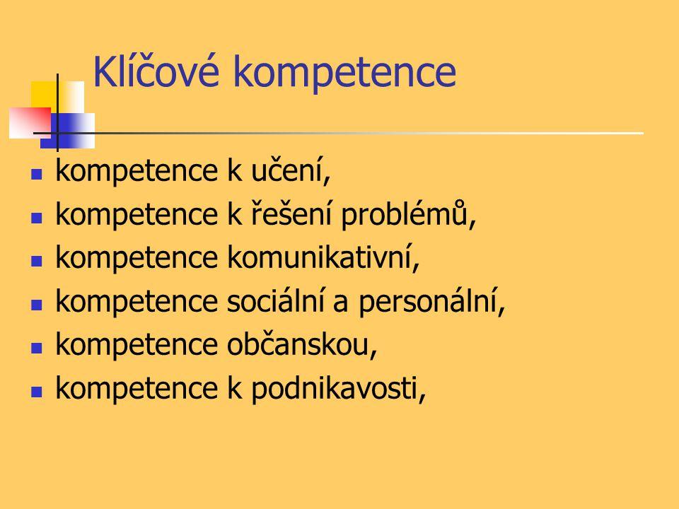 Klíčové kompetence kompetence k učení, kompetence k řešení problémů, kompetence komunikativní, kompetence sociální a personální, kompetence občanskou, kompetence k podnikavosti,