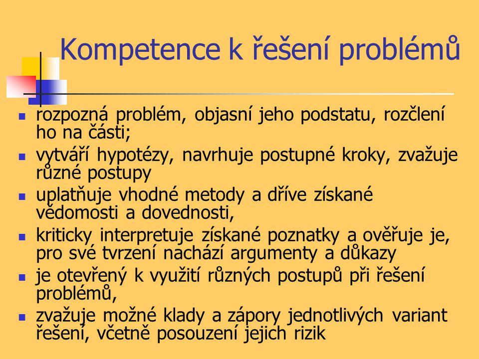 Kompetence k řešení problémů rozpozná problém, objasní jeho podstatu, rozčlení ho na části; vytváří hypotézy, navrhuje postupné kroky, zvažuje různé postupy uplatňuje vhodné metody a dříve získané vědomosti a dovednosti, kriticky interpretuje získané poznatky a ověřuje je, pro své tvrzení nachází argumenty a důkazy je otevřený k využití různých postupů při řešení problémů, zvažuje možné klady a zápory jednotlivých variant řešení, včetně posouzení jejich rizik