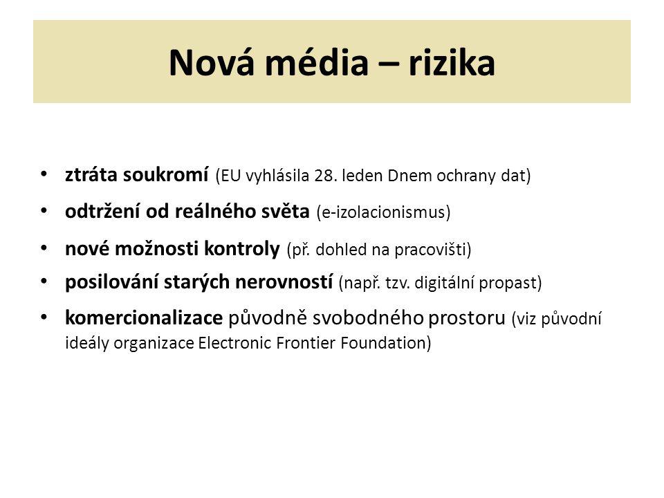 Nová média – rizika ztráta soukromí (EU vyhlásila 28.