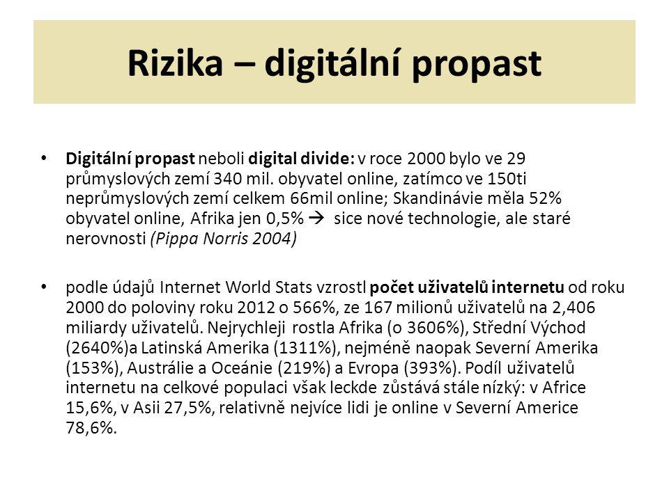 Rizika – digitální propast Digitální propast neboli digital divide: v roce 2000 bylo ve 29 průmyslových zemí 340 mil.