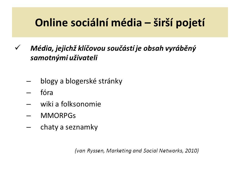 Online sociální média – širší pojetí Média, jejichž klíčovou součástí je obsah vyráběný samotnými uživateli – blogy a blogerské stránky – fóra – wiki a folksonomie – MMORPGs – chaty a seznamky (van Ryssen, Marketing and Social Networks, 2010)