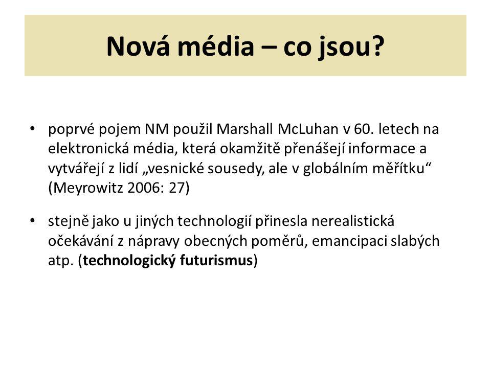 Nová média – co jsou.poprvé pojem NM použil Marshall McLuhan v 60.