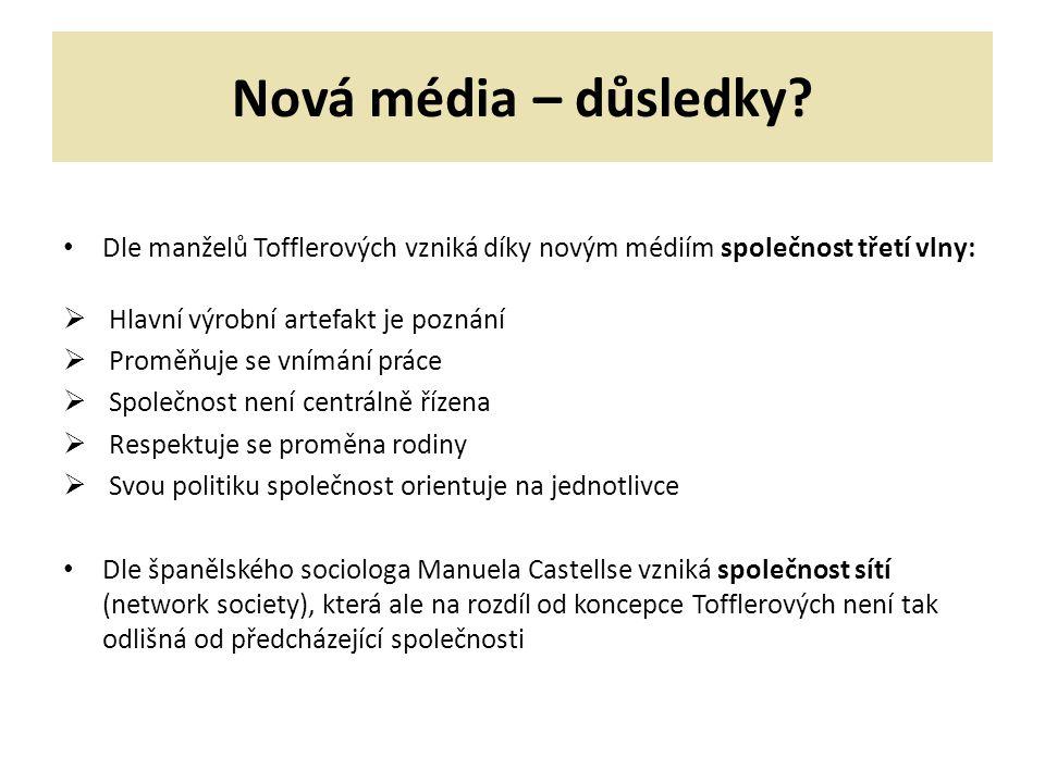 Nová média – důsledky.