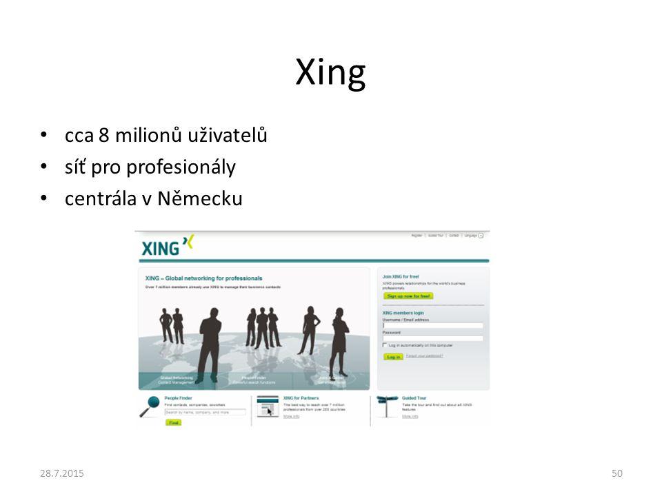 Xing cca 8 milionů uživatelů síť pro profesionály centrála v Německu 28.7.201550
