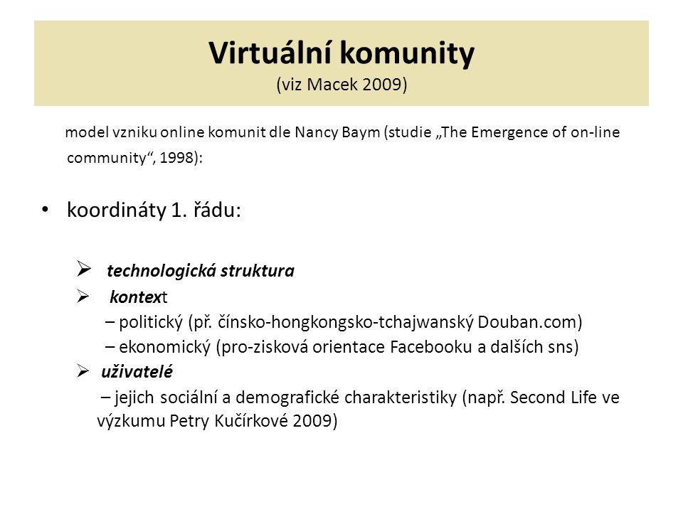 """Virtuální komunity (viz Macek 2009) model vzniku online komunit dle Nancy Baym (studie """"The Emergence of on-line community , 1998): koordináty 1."""