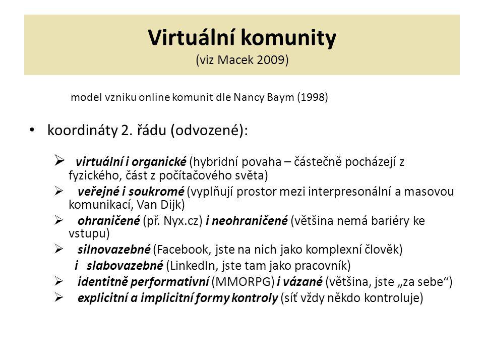 Virtuální komunity (viz Macek 2009) model vzniku online komunit dle Nancy Baym (1998) koordináty 2.