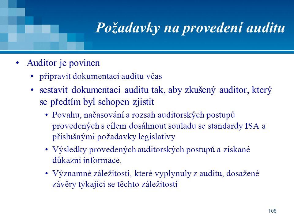 108 Požadavky na provedení auditu Auditor je povinen připravit dokumentaci auditu včas sestavit dokumentaci auditu tak, aby zkušený auditor, který se