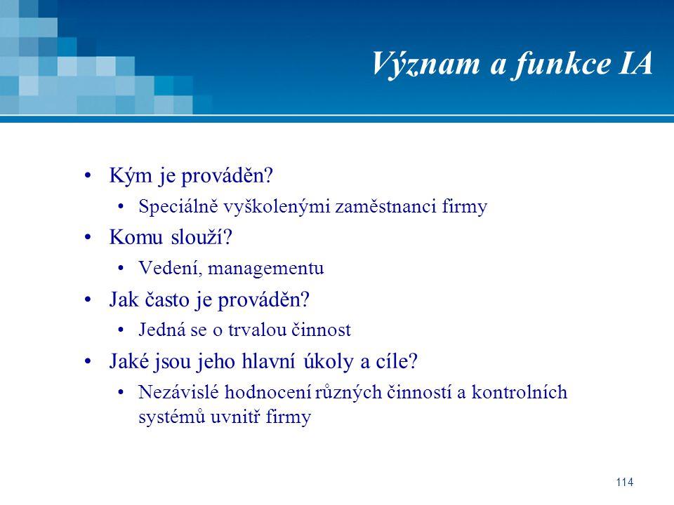 114 Význam a funkce IA Kým je prováděn.Speciálně vyškolenými zaměstnanci firmy Komu slouží.