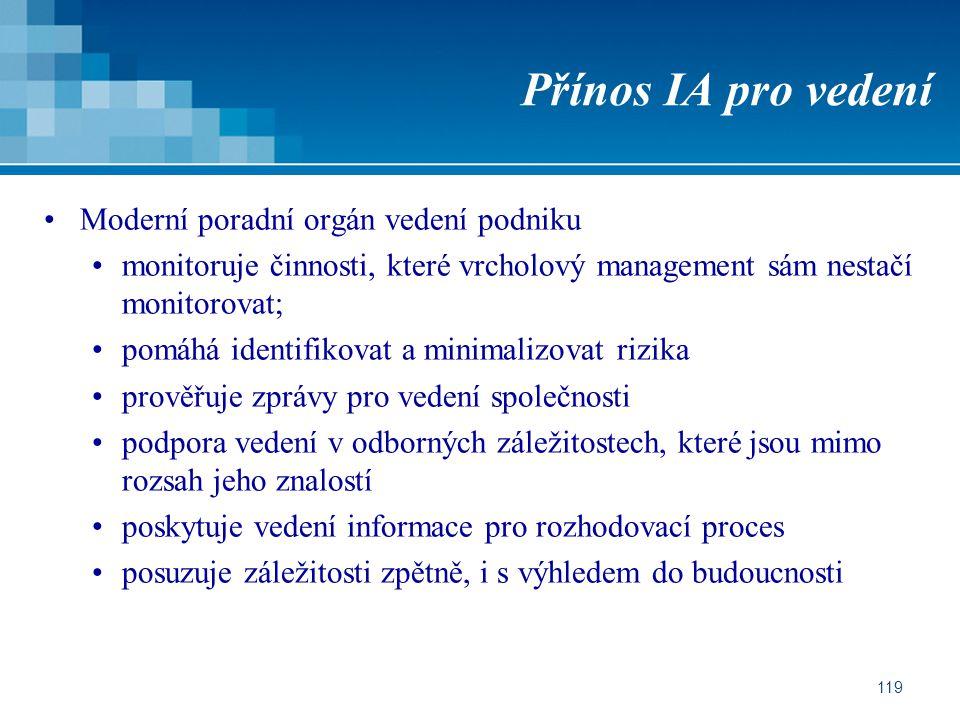 119 Přínos IA pro vedení Moderní poradní orgán vedení podniku monitoruje činnosti, které vrcholový management sám nestačí monitorovat; pomáhá identifi