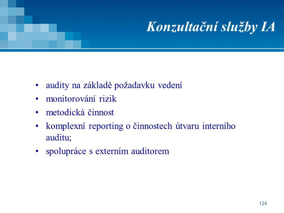 124 Konzultační služby IA audity na základě požadavku vedení monitorování rizik metodická činnost komplexní reporting o činnostech útvaru interního auditu; spolupráce s externím auditorem