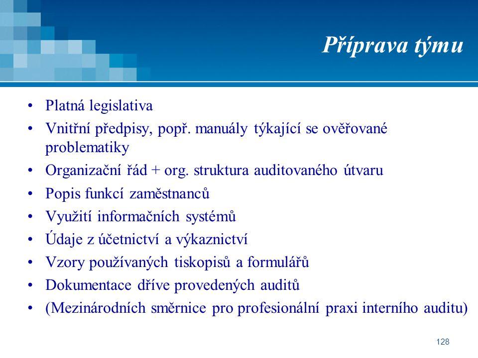 128 Příprava týmu Platná legislativa Vnitřní předpisy, popř. manuály týkající se ověřované problematiky Organizační řád + org. struktura auditovaného