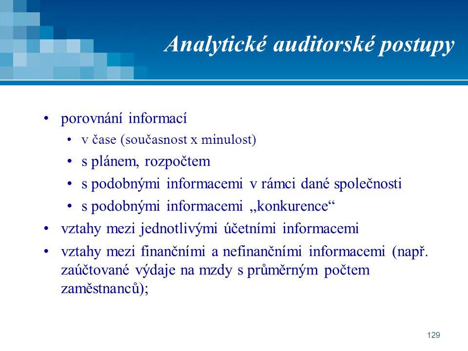 """129 Analytické auditorské postupy porovnání informací v čase (současnost x minulost) s plánem, rozpočtem s podobnými informacemi v rámci dané společnosti s podobnými informacemi """"konkurence vztahy mezi jednotlivými účetními informacemi vztahy mezi finančními a nefinančními informacemi (např."""