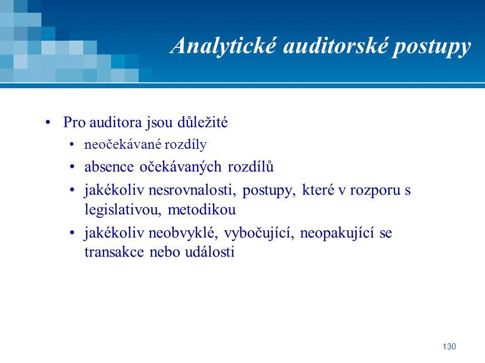 130 Analytické auditorské postupy Pro auditora jsou důležité neočekávané rozdíly absence očekávaných rozdílů jakékoliv nesrovnalosti, postupy, které v