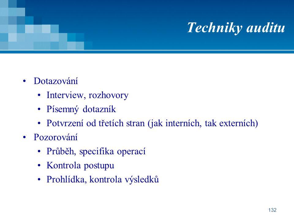 132 Techniky auditu Dotazování Interview, rozhovory Písemný dotazník Potvrzení od třetích stran (jak interních, tak externích) Pozorování Průběh, specifika operací Kontrola postupu Prohlídka, kontrola výsledků