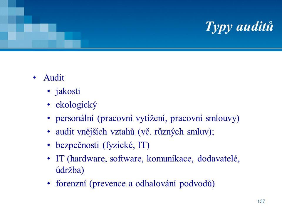 137 Typy auditů Audit jakosti ekologický personální (pracovní vytížení, pracovní smlouvy) audit vnějších vztahů (vč. různých smluv); bezpečnosti (fyzi