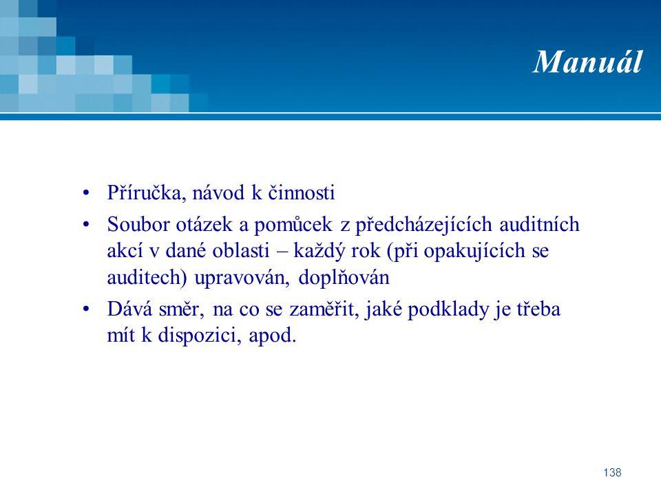 138 Manuál Příručka, návod k činnosti Soubor otázek a pomůcek z předcházejících auditních akcí v dané oblasti – každý rok (při opakujících se auditech