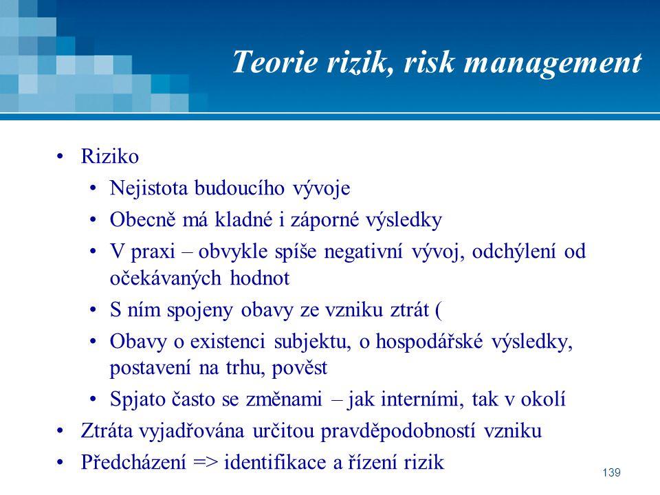139 Teorie rizik, risk management Riziko Nejistota budoucího vývoje Obecně má kladné i záporné výsledky V praxi – obvykle spíše negativní vývoj, odchý