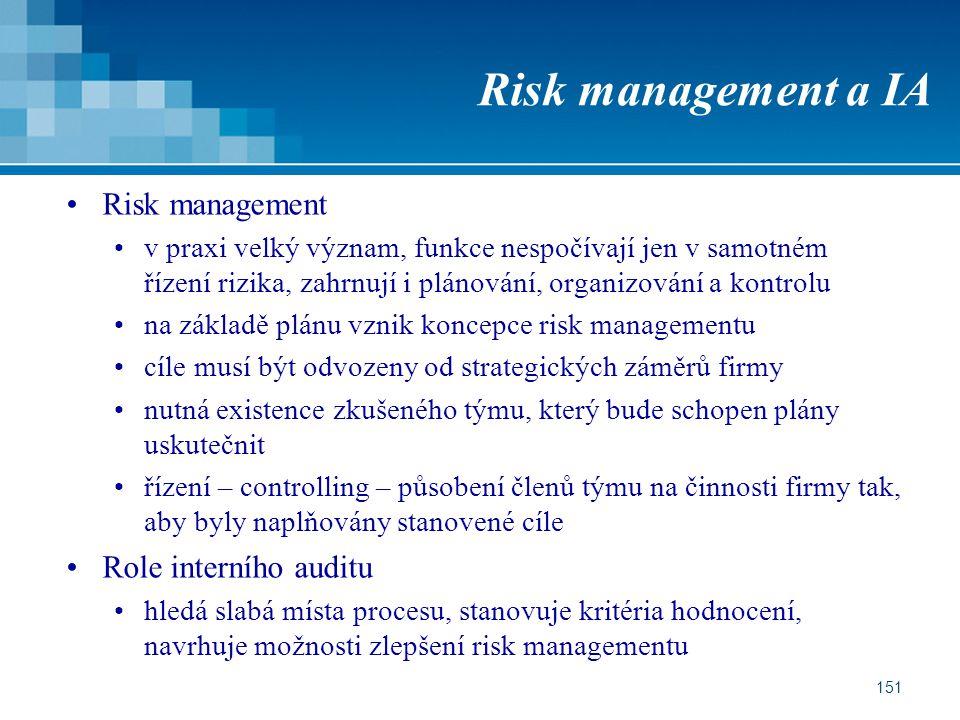 151 Risk management a IA Risk management v praxi velký význam, funkce nespočívají jen v samotném řízení rizika, zahrnují i plánování, organizování a kontrolu na základě plánu vznik koncepce risk managementu cíle musí být odvozeny od strategických záměrů firmy nutná existence zkušeného týmu, který bude schopen plány uskutečnit řízení – controlling – působení členů týmu na činnosti firmy tak, aby byly naplňovány stanovené cíle Role interního auditu hledá slabá místa procesu, stanovuje kritéria hodnocení, navrhuje možnosti zlepšení risk managementu