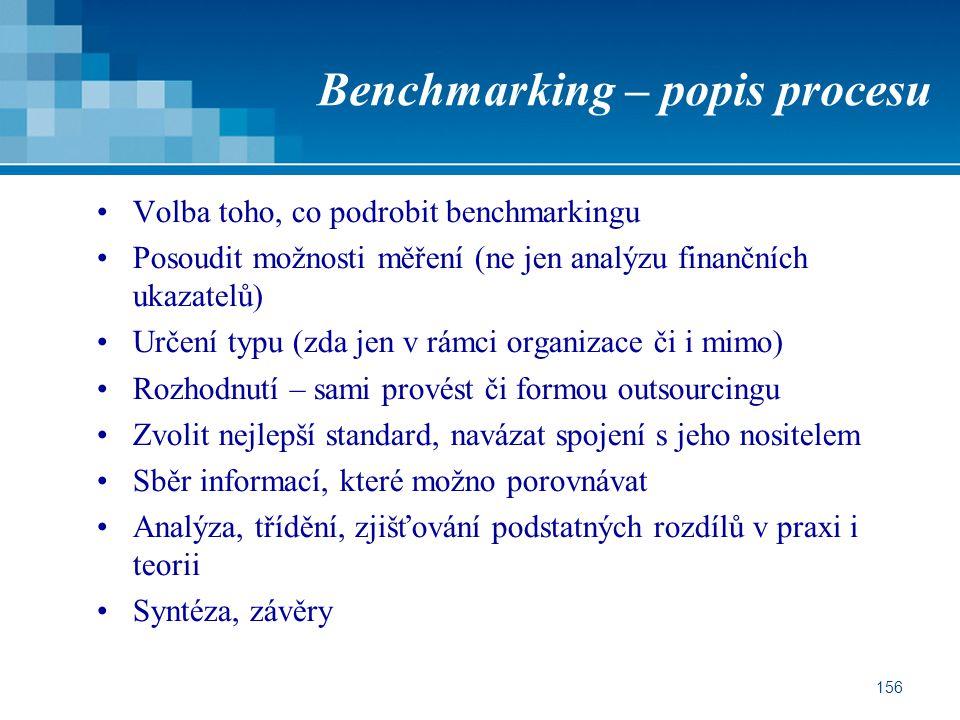 156 Benchmarking – popis procesu Volba toho, co podrobit benchmarkingu Posoudit možnosti měření (ne jen analýzu finančních ukazatelů) Určení typu (zda jen v rámci organizace či i mimo) Rozhodnutí – sami provést či formou outsourcingu Zvolit nejlepší standard, navázat spojení s jeho nositelem Sběr informací, které možno porovnávat Analýza, třídění, zjišťování podstatných rozdílů v praxi i teorii Syntéza, závěry