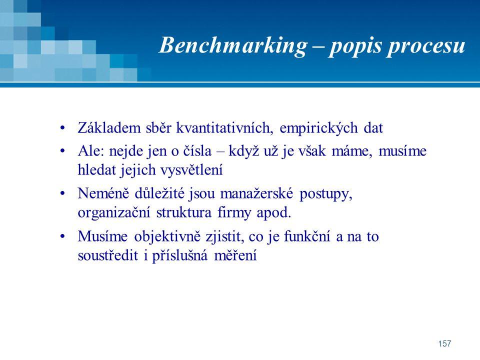 157 Benchmarking – popis procesu Základem sběr kvantitativních, empirických dat Ale: nejde jen o čísla – když už je však máme, musíme hledat jejich vysvětlení Neméně důležité jsou manažerské postupy, organizační struktura firmy apod.