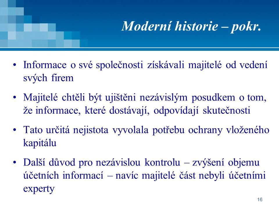 16 Moderní historie – pokr.