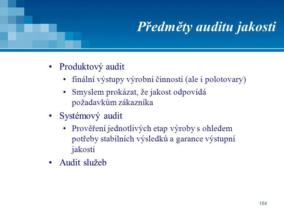 164 Předměty auditu jakosti Produktový audit finální výstupy výrobní činnosti (ale i polotovary) Smyslem prokázat, že jakost odpovídá požadavkům zákazníka Systémový audit Prověření jednotlivých etap výroby s ohledem potřeby stabilních výsledků a garance výstupní jakosti Audit služeb
