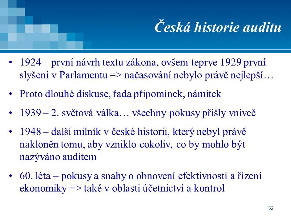 32 Česká historie auditu 1924 – první návrh textu zákona, ovšem teprve 1929 první slyšení v Parlamentu => načasování nebylo právě nejlepší… Proto dlouhé diskuse, řada připomínek, námitek 1939 – 2.