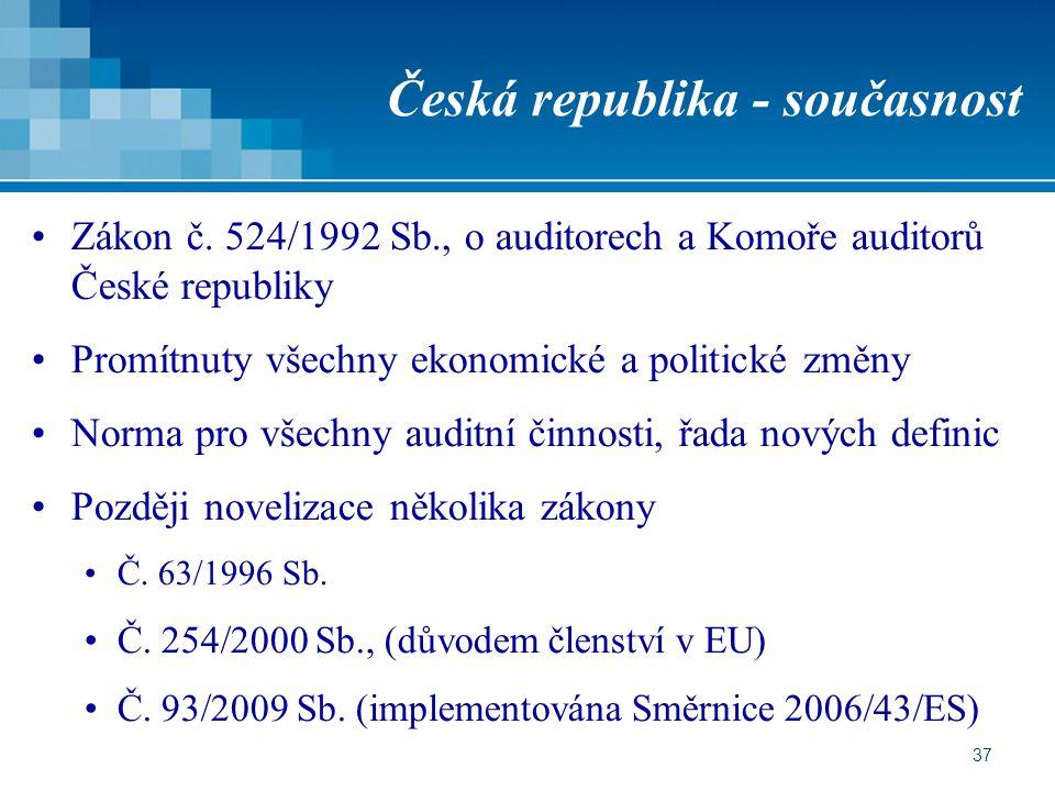 37 Česká republika - současnost Zákon č. 524/1992 Sb., o auditorech a Komoře auditorů České republiky Promítnuty všechny ekonomické a politické změny