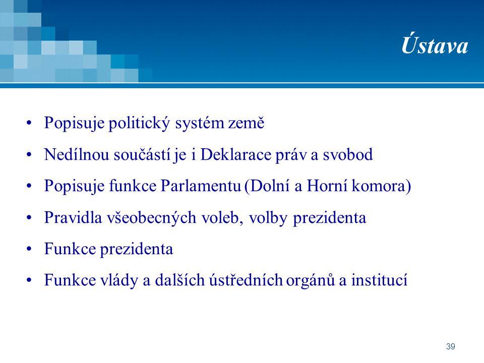 39 Ústava Popisuje politický systém země Nedílnou součástí je i Deklarace práv a svobod Popisuje funkce Parlamentu (Dolní a Horní komora) Pravidla vše