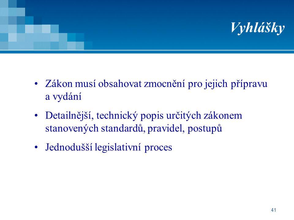 41 Vyhlášky Zákon musí obsahovat zmocnění pro jejich přípravu a vydání Detailnější, technický popis určitých zákonem stanovených standardů, pravidel, postupů Jednodušší legislativní proces