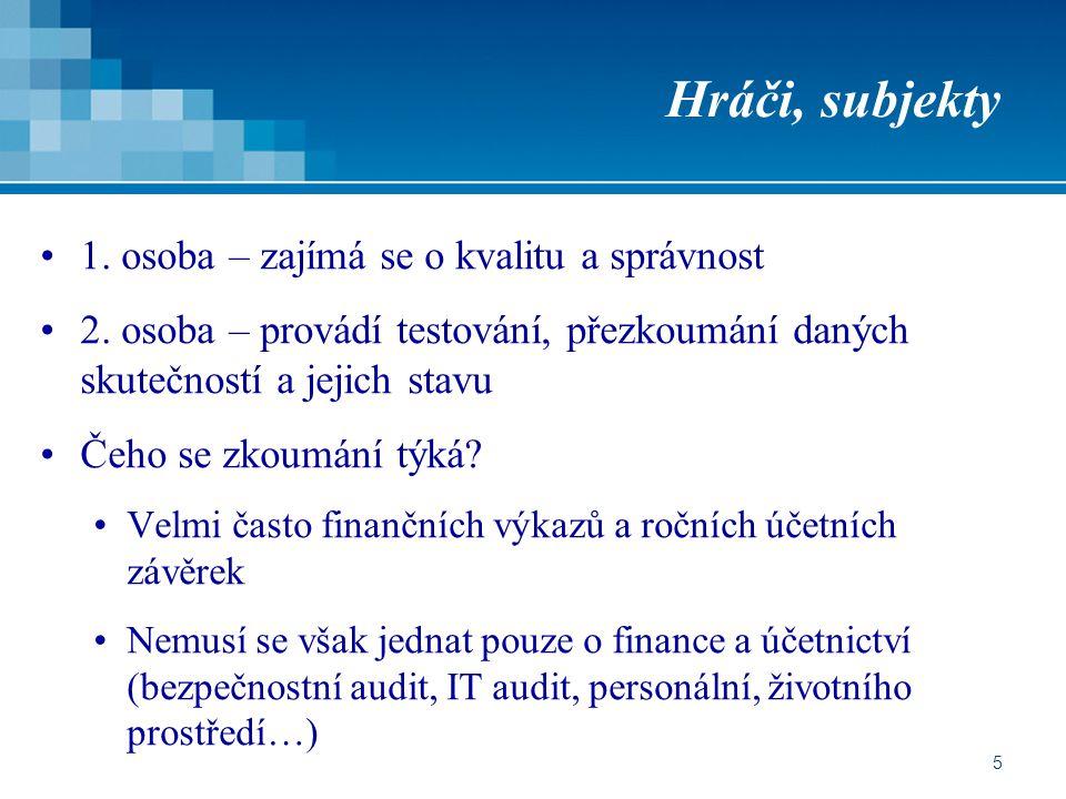 66 Závěrečná auditní zpráva Každý externí audit jí musí být ukončen Možnosti výroku Bez výhrad S výhradou (výhradami) Záporné hodnocení Odmítnutí vydat výrok Veřejná, důležitá pro ty, jejichž akcie jsou obchodovány na finančních trzích Příklad – banky…
