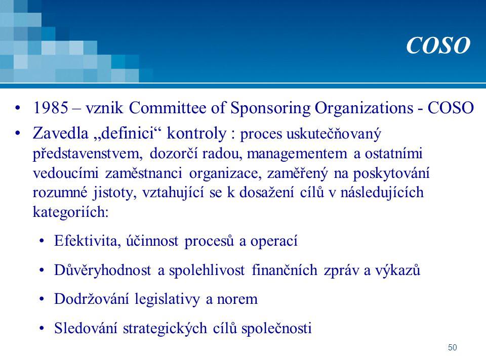 """50 COSO 1985 – vznik Committee of Sponsoring Organizations - COSO Zavedla """"definici kontroly : proces uskutečňovaný představenstvem, dozorčí radou, managementem a ostatními vedoucími zaměstnanci organizace, zaměřený na poskytování rozumné jistoty, vztahující se k dosažení cílů v následujících kategoriích: Efektivita, účinnost procesů a operací Důvěryhodnost a spolehlivost finančních zpráv a výkazů Dodržování legislativy a norem Sledování strategických cílů společnosti"""
