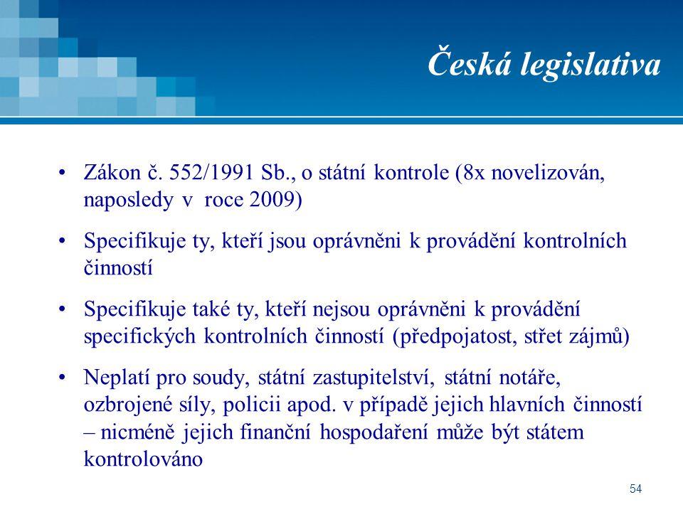 54 Česká legislativa Zákon č. 552/1991 Sb., o státní kontrole (8x novelizován, naposledy v roce 2009) Specifikuje ty, kteří jsou oprávněni k provádění