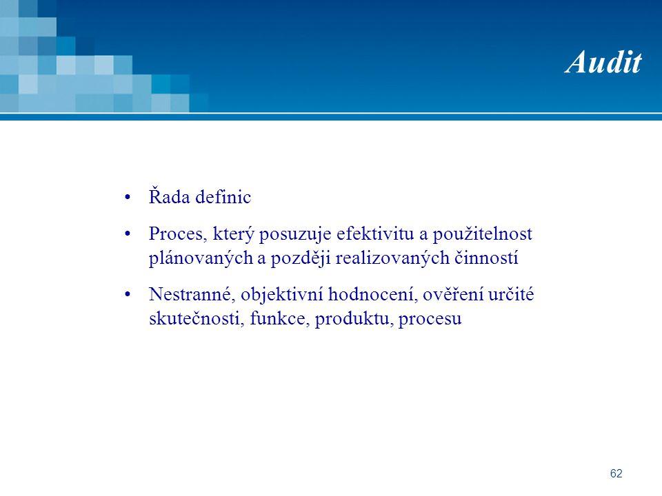 62 Audit Řada definic Proces, který posuzuje efektivitu a použitelnost plánovaných a později realizovaných činností Nestranné, objektivní hodnocení, ověření určité skutečnosti, funkce, produktu, procesu
