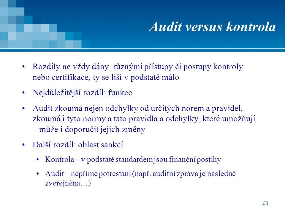 63 Audit versus kontrola Rozdíly ne vždy dány různými přístupy či postupy kontroly nebo certifikace, ty se liší v podstatě málo Nejdůležitější rozdíl: funkce Audit zkoumá nejen odchylky od určitých norem a pravidel, zkoumá i tyto normy a tato pravidla a odchylky, které umožňují – může i doporučit jejich změny Další rozdíl: oblast sankcí Kontrola – v podstatě standardem jsou finanční postihy Audit – nepřímé potrestání (např.